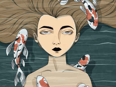 Koi japanese culture digital illustration art ipadpro water characterdesign character procreate illustration digital illustration girl illustration girl fish koi