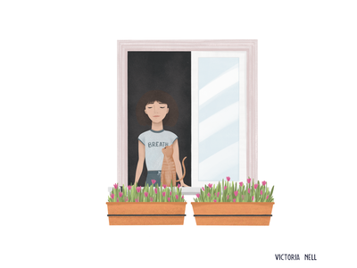 Breath girl illustration lifestyle illustration spot illustration woman illustration adobe fresco window cat girl woman painting ipadpro illustration art illustration digital