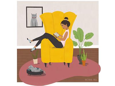 Love your thing book illustration stay home ipadproart adobe fresco illustrator lifestyle plants cat reading girl woman lifestyleillustration ipadpro illustration art illustration digital