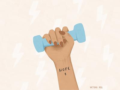 Hope Power adobe fresco digital painting hope power tattoo dumbell woman lifestyle illustration ipadpro illustration art illustration digital