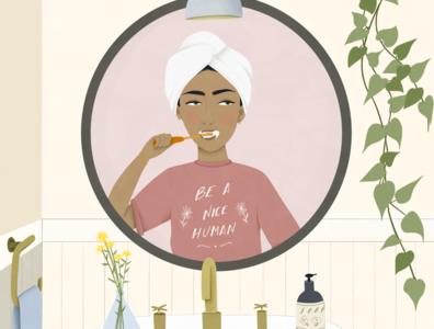 Be a nice human digital artwork bathroom adobe fresco digital painting digital art digital illustration book illustration editorial illustration lifestyle illustration morning routine girl character girl illustration