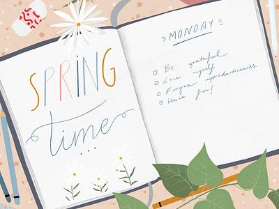Spring Time Journal freelance illustrator adobe fresco springtime girly lifestyleillustration digital painting digital illustration book illustration editorial illustration organization productivity bullet journal