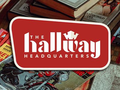 The Hallway Headquarters Retro Logo custom font sign design port huron michigan hallway branding logo retro crown headquarters