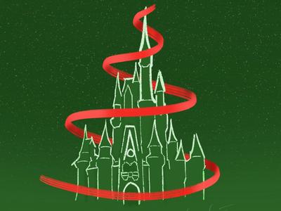 Christmas Magic Kingdom christmas tree christmas mickey magic kingdom disney world cinderella castle disney illustration