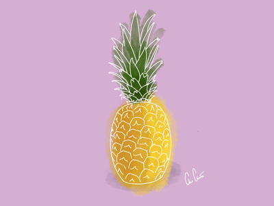 Pineapple excercise simple sketch fun pink illustration procreate pineapple