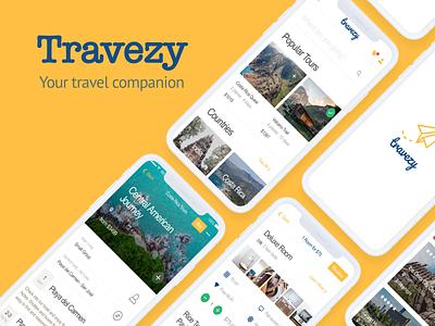 travezy social travel agency travel app travel mobile logo ux ui