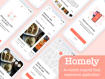 Homely - An Airbnb inspired food experience applicaton food and drink foodie food app ui userinterface user ui design food app food airbnb flat design ui minimal ux mobile design mobile mobile app design mobile app mobile ui