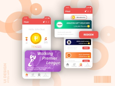 The Fitzu App oeat oeat fitzu app step counter fitness app ios app android app design adobe ux ui vector illustration