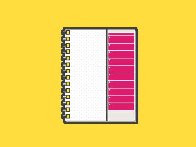 Handy Dandy. Notebook! flat illustration notebook dot grid action runner