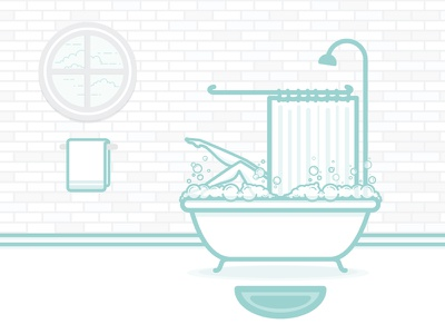 Bubble bath bath vector illustration flat towel bathroom bubbles