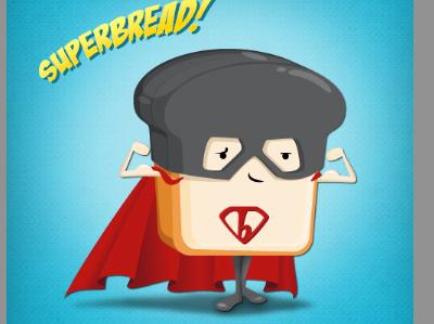 Look! Up on top of the fridge! It's.. it's.. SUPERBREAD! mascot illustration superhero