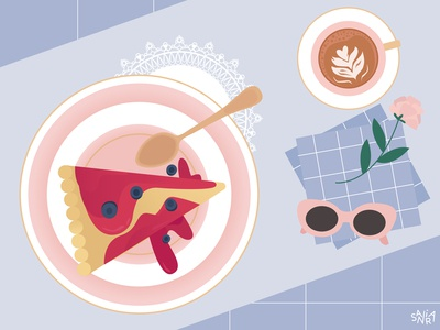 Cheesecake and Coffee Illustration