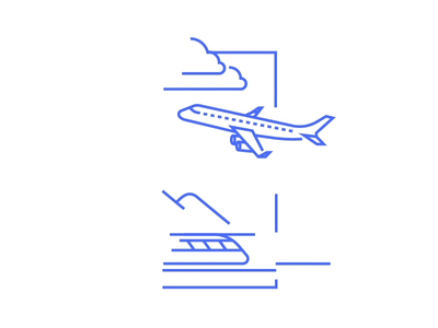 Plane train 2d digital 2d animation vector infostarters illustration