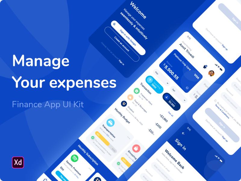 Finance App UI Kit - Mange your expenses