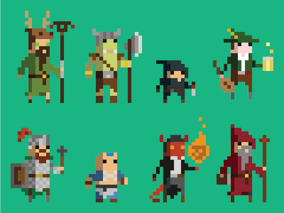 Pixel art avatars flat pixelated illustration avatars dd pixelised pixel art dungeons and dragons
