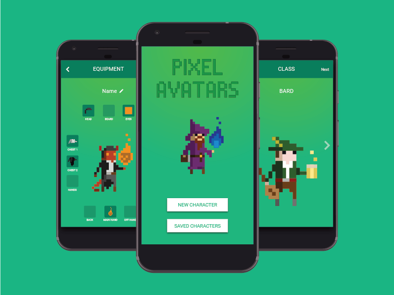 Pixel Avatars illustration avatars concept app android dungeons and dragons pixel art