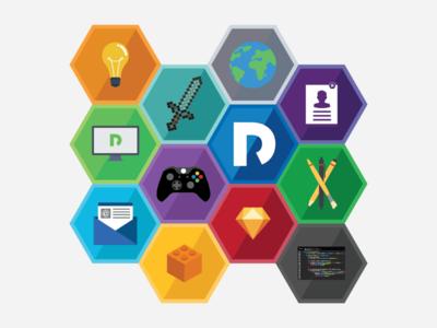 Hexagonal icons