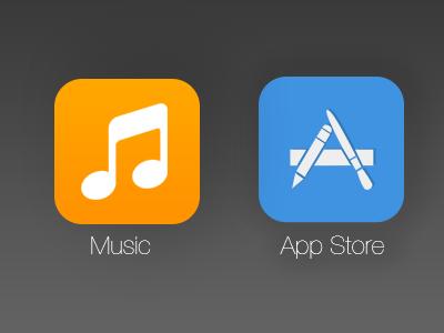 Music & App Store (iOS 7 redesigns) - thespoondesign music app store ios 7 redesign ios 7 ios 7 icons music icon app store icon
