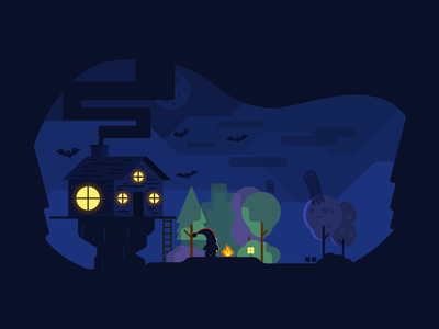 In the forest vector illustration
