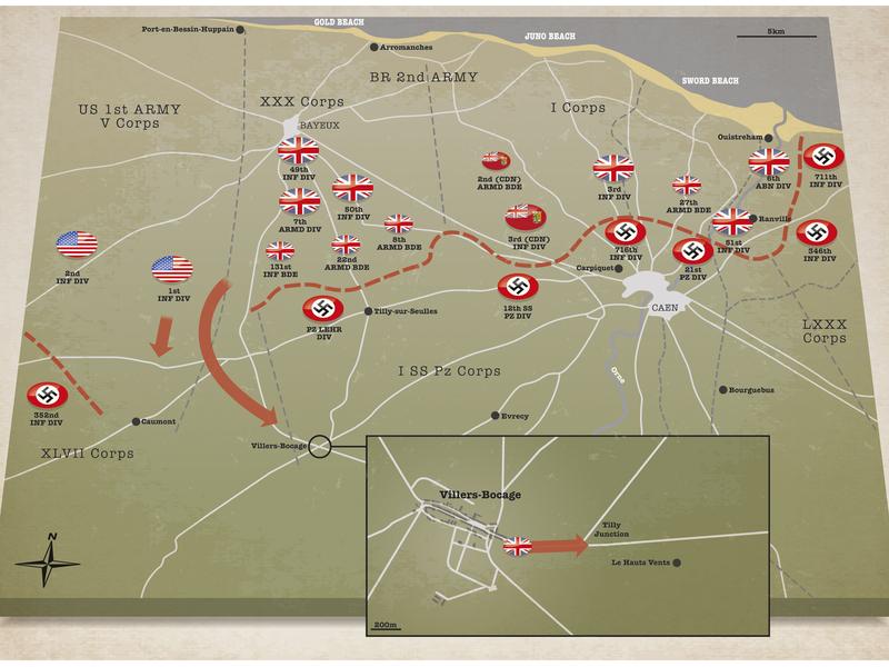 Battle Of Villers Bocage Graphic vector illustration vector history war illustration infographic adobe illustrator information design battle map map explanatory
