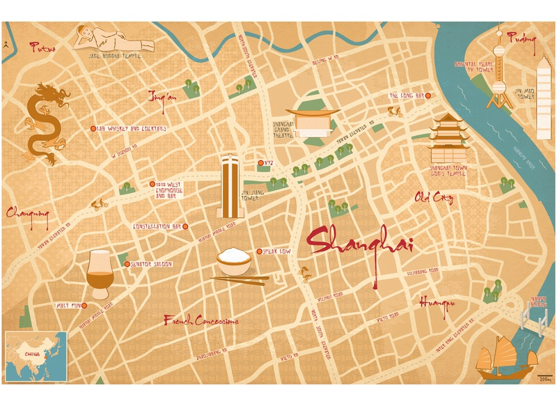 Shanghai illustrated Map by Jason Pickersgill on Dribbble on internet map, world map, word map, buenos aires map, print map,