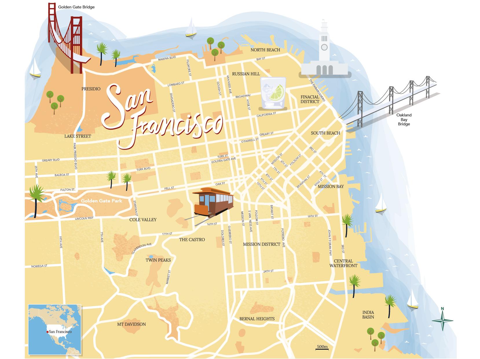 San Francisco illustrated map by Jason Pickersgill on Dribbble on 9th street tijuana, 9th street green bay, 9th street durham, 9th street corpus christi, washington square park san francisco, broadway san francisco,