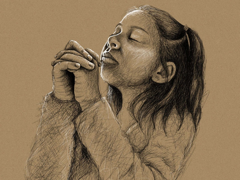 Little Prayer art drawing illustraion