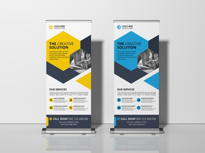 Corporate Roll up Banner Design banner ads corporate clean company leaflet branding handout creative advertizing creative banner stand banner design banner rollup