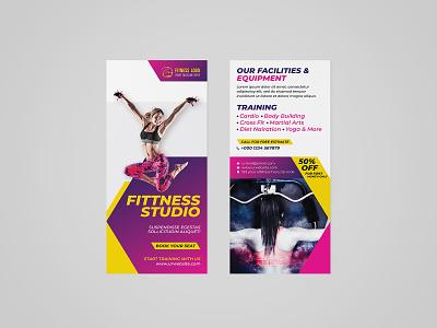 FITNESS RACK CARD / DL FLYER leaflet double sided company business flyer advertising branding modernism creative design handout door hanger rack card gym flyer fitness flyer dl flyer