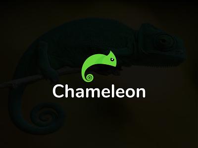 Chameleon Logo Design green creative minimalist business logo wildlife lizard logo simple flat minimal branding icon animal logo chameleon logo chameleon