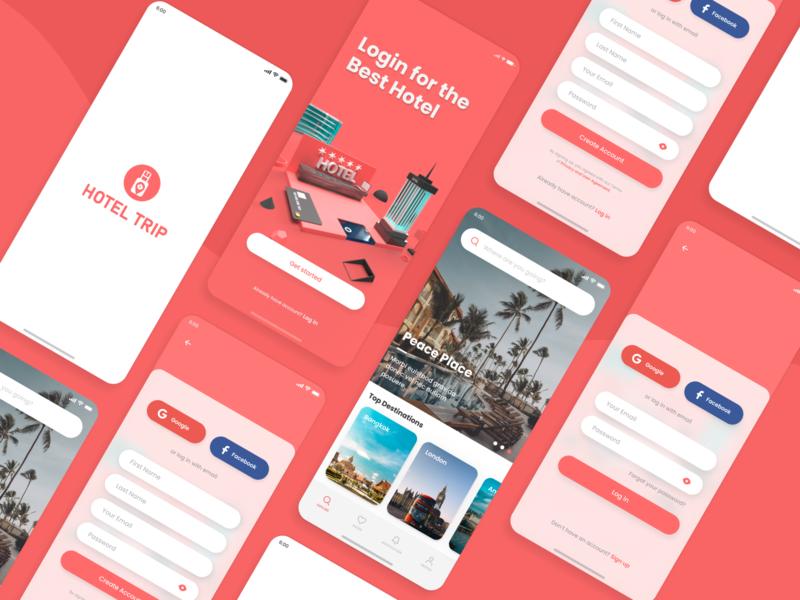Hotel Booking App - Mobile Concept ui ux figma ios design creative app design android minimal room hotel booking booking app mobile app trending product design travel illustration 3d hotel app app