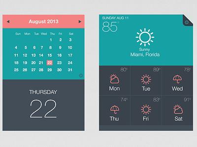 UI Kit - Calendar - Weather App/Widget ui elements green coral user interface flat design simple clean weather weather icons calendar typography temperature