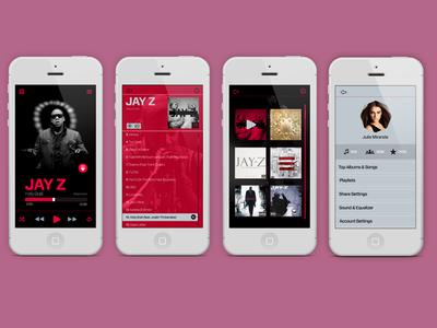 Iphone UI music player app interface