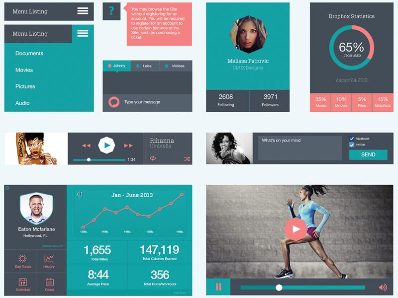 Plano UI Kit v.1 - Flat UI Kit flat user interface ui kit icons simple