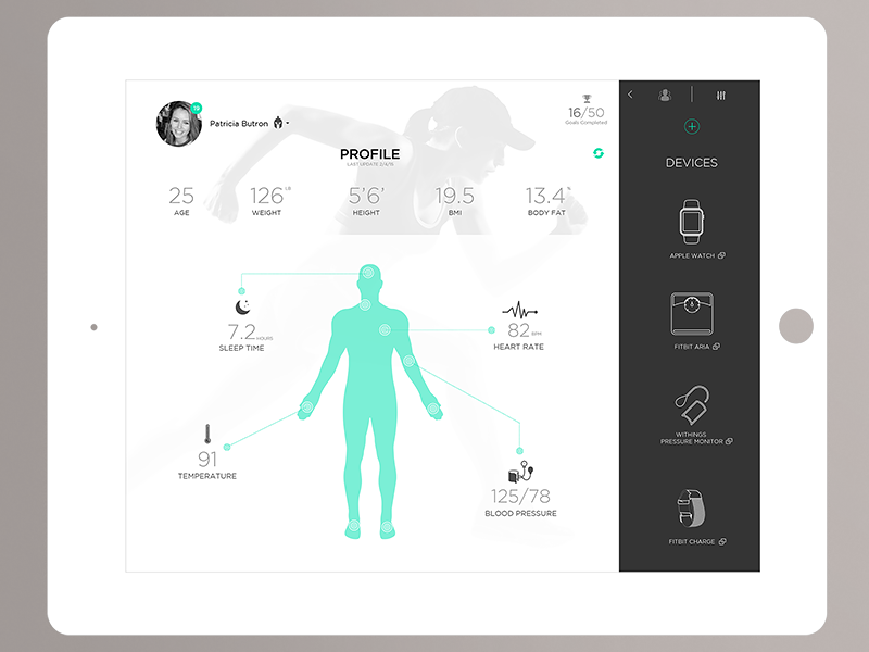 Health UI Kit Dashboard - Profile  health ui kit flat fitbit profile analytics data clean simple