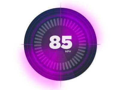 Car Dashboard UI - #30dayUI speedometer blur lights flat design mph speed ui car
