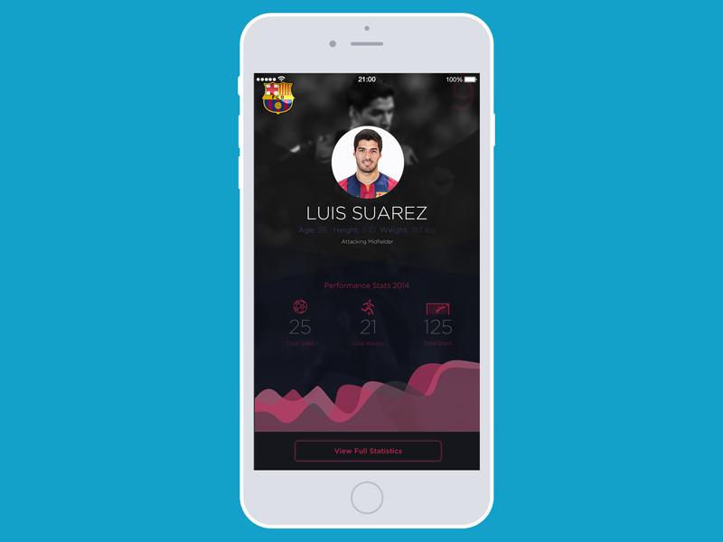 Barcelona Soccer App UI - Luis Suarez - #30dayUI -Day 2  futbol ios barcelona statistics stats flat design ui soccer