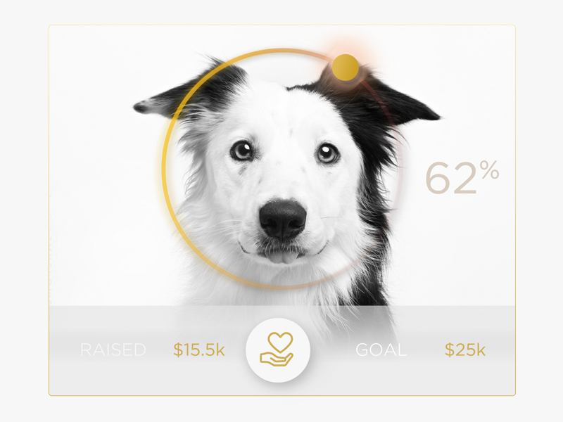 Donate Charity Doggie UI Widget  icon charity analytics dot white clean chart simple graph ui
