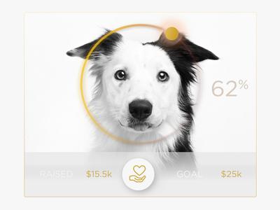 Donate Charity Doggie UI Widget  icon charity analytics dot white clean chart simple graph ui