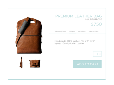Shopping Retail Product UI - #30dayUI - Day 12 shopping cart product flat clean leather retail ui shopping