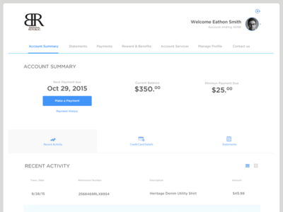 Credit Card/Bank User Interface - UI account ui profile banana republic paypal simple clean credit card cc bank