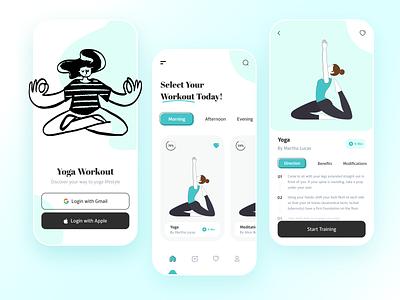 Yoga App Design uiux yoga app app typography illustrator ux ui vector illustration design