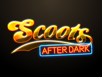 Scoots After Dark twitch cheers neon logo