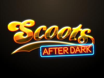 Scoots After Dark twitch cheers neon logo