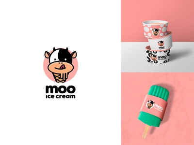 Moo Ice Cream ice cream day27 logo design branding design dailylogochallenge cow moo art illustrator icon minimal vector logo illustration flat design branding