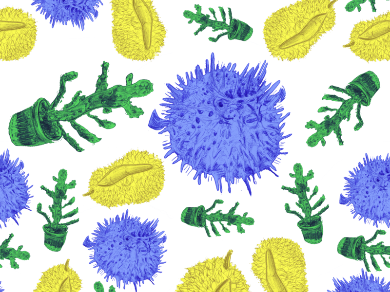 Prickly Pattern prick prickly pear prickly interest fun doodles doodle pattern a day patterns pattern art pattern design pattern cacti durian pufferfish drawing design illustration inktober inktober2018