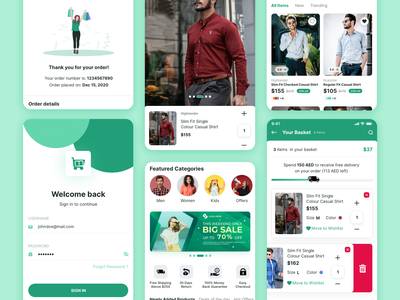 Ecommerce IOS Mobile App trivandrum technopark flutter design ui green ecommerce app ux adobe xd ios app design