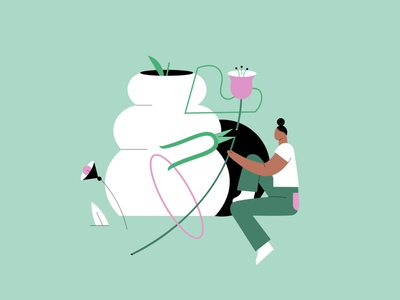 florist web illustration app illustration character design blog post flat illustration illustrator illustration vector