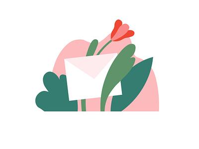 Letter letter envelope flowers illustrator icon illustration vector minimalism graphic design design