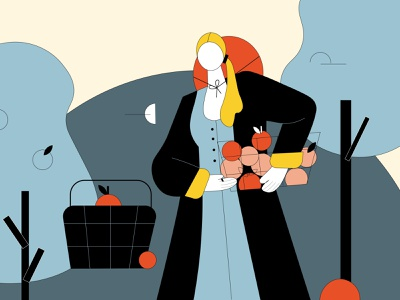 A Girl in a garden apple magazine illustration illustrator amsterdam girl bold colors illustration aesthetic minimalism vector graphic design design